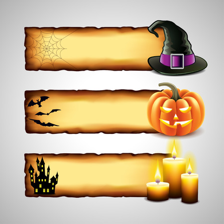 haunted: Three horizontal Halloween design from paper  Illustration