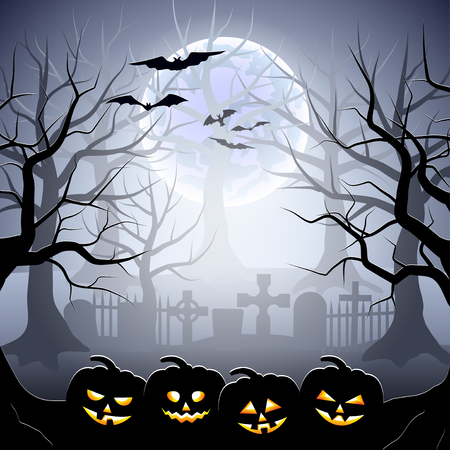 foggy: Graveyard and pumpkins in foggy forest Halloween background