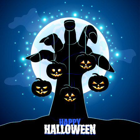 black art: Zombies hand holding pumpkins Halloween background  Illustration
