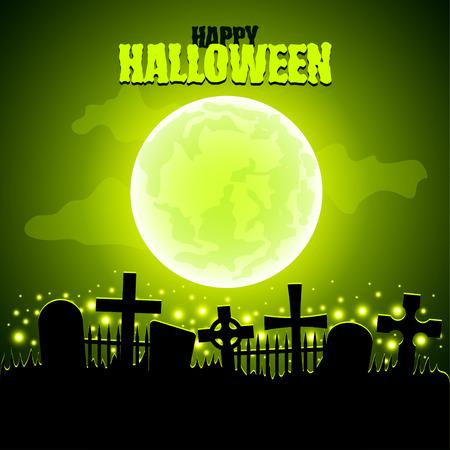 Green moon and graveyard Halloween background  Illustration