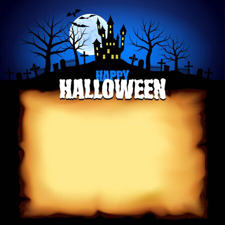 Spooky castle behind sheet of paper Halloween background