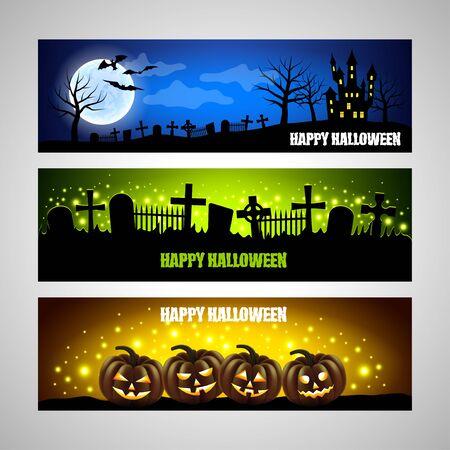 spooky graveyard: Three horizontal Halloween banners  Illustration