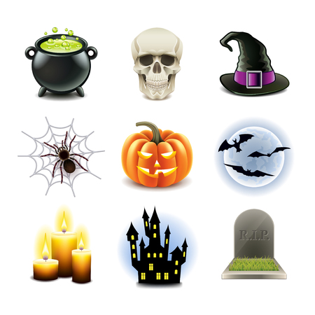 high detailed: Halloween icons high detailed photo-realistic