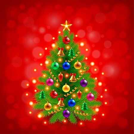 decorated: Green decorated Christmas tree on red background realistic vector
