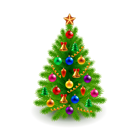 Green decorated Christmas tree isolated on white realistic vector