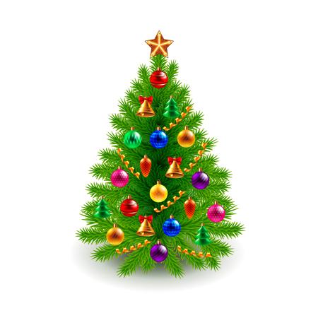 Groene versierde kerstboom geïsoleerd op een witte realistische vector