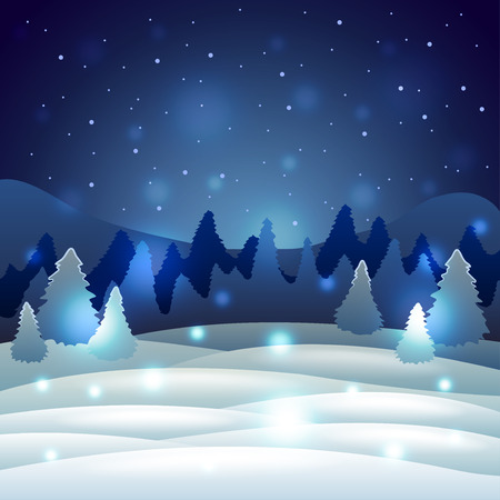 winter scenery: Christmas Winter scenery with snowy nature holiday vector background Illustration