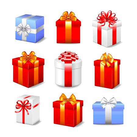 Different gift boxes photo realistic vector set Vettoriali