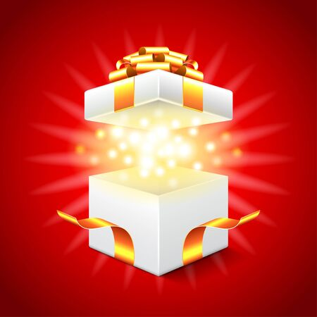 Opened gift box on red background photo realistic vector