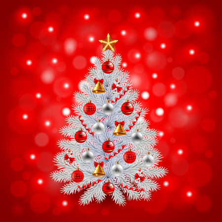 white christmas tree: White decorated Christmas tree on red background realistic vector Illustration