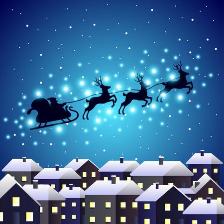 renna: Babbo silhouette renna in citt� di notte vettore sfondo