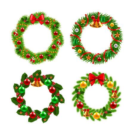 Christmas wreath icons photo realistic vector set