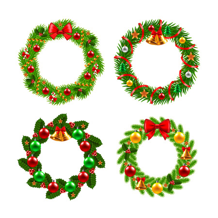 red ribbon bow: Christmas wreath icons photo realistic vector set