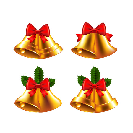 reflexion: Christmas bells detailed photo realistic vector set