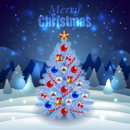 winter scenery: Decorated Christmas tree on night winter scenery realistic vector Illustration