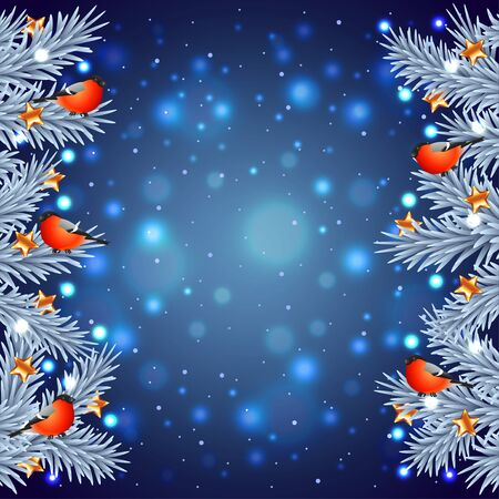 white christmas tree: White Christmas tree branches with bullfinches on night background Illustration