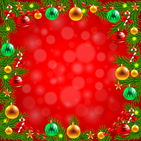 decorated christmas tree: Decorated Christmas tree branches around the red background realistic vector