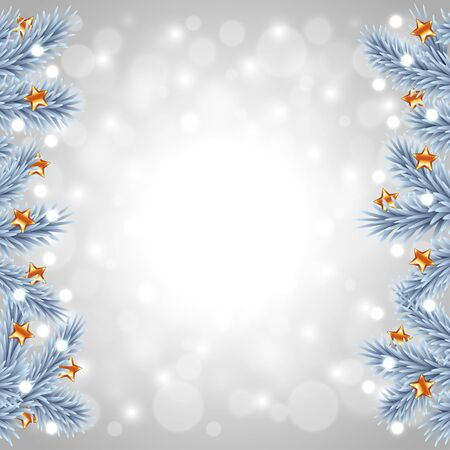 White Christmas tree branches on snowy background realistic vector Illustration