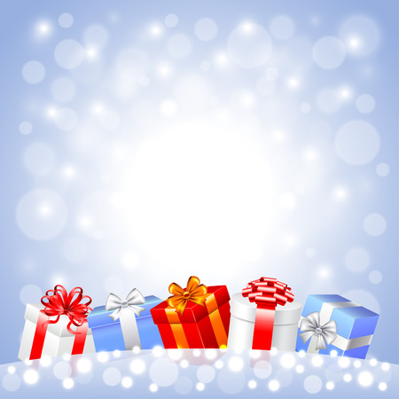 christmas gifts: Christmas gifts in the snow on white background realistic vector Illustration