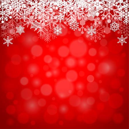 fondo rojo: Los copos de nieve sobre fondo rojo ilustraci�n vectorial detallado