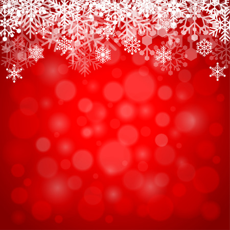 Snowflakes on red background detailed vector illustration