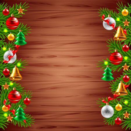 desk toy: Decorated Christmas tree branches on wood background realistic vector Illustration