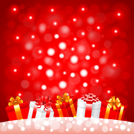 in christmas box: Christmas gifts in the snow on red background realistic vector