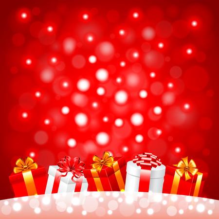 cintas  navide�as: Regalos de Navidad en la nieve sobre fondo rojo realista del vector Vectores