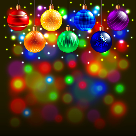 shine background: Luminous Christmas balls on colorful background realistic vector