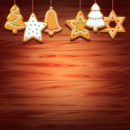 gingery: Christmas cookies on wood background realistic vector Illustration
