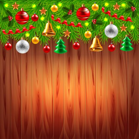 decorated christmas tree: Decorated Christmas tree branches on top of wood background
