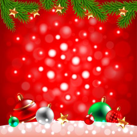 Kerstballen in de sneeuw op rode achtergrond realistische vector Stock Illustratie