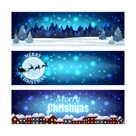 winter sky: Christmas banners with night winter sky realistic vector