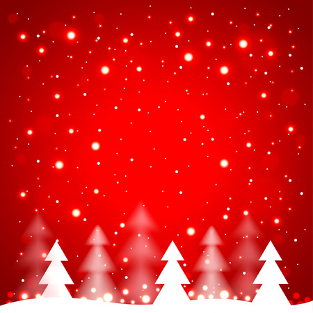 simple: White simple Christmas trees on red background vector illustration Illustration
