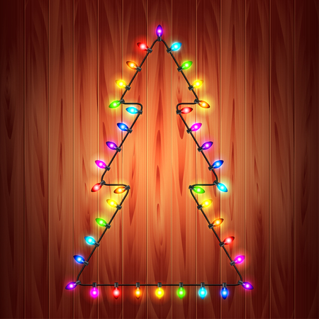 original: Christmas lights as fir tree holiday concept realistic vector