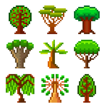 high detailed: Pixel trees for games icons high detailed vector set