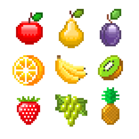 halved: Pixel fruits for games icons high detailed vector set Illustration