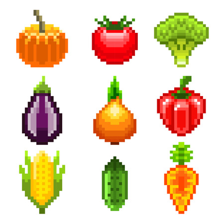 greengrocery: Pixel vegetables for games icons high detailed vector set Illustration