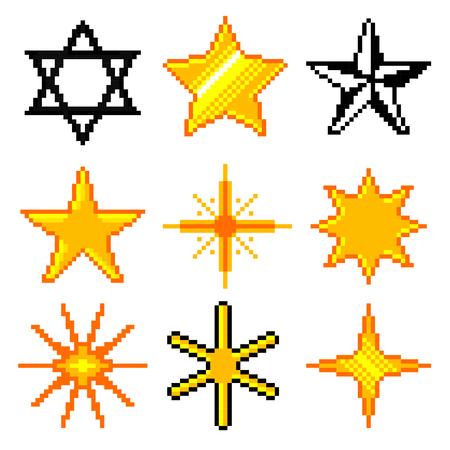 estrella de david: estrellas de píxeles para los juegos de iconos de alta detallada conjunto de vectores
