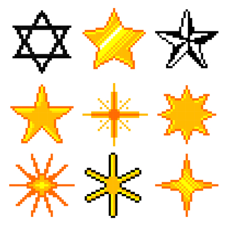 Pixel stars for games icons high detailed vector set