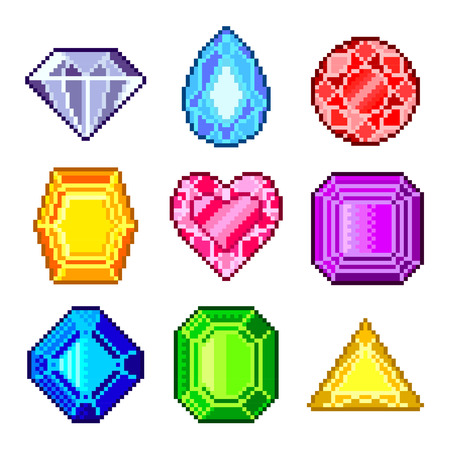 ruby stone: Pixel gems for games icons high detailed vector set Illustration