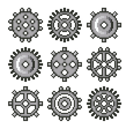 toothed: Pixel gears for games icons high detailed vector set Illustration