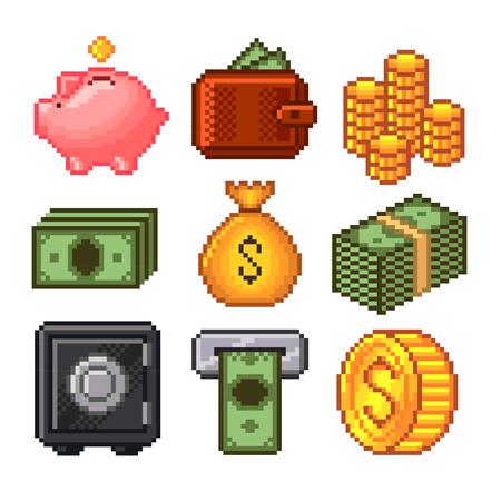 Dinero píxel set de iconos de alta vectorial detallada Foto de archivo - 46974979