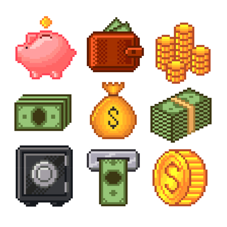high detailed: Pixel money icons high detailed vector set