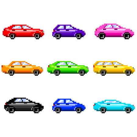 game icon: Pixel cars for games icons high detailed vector set