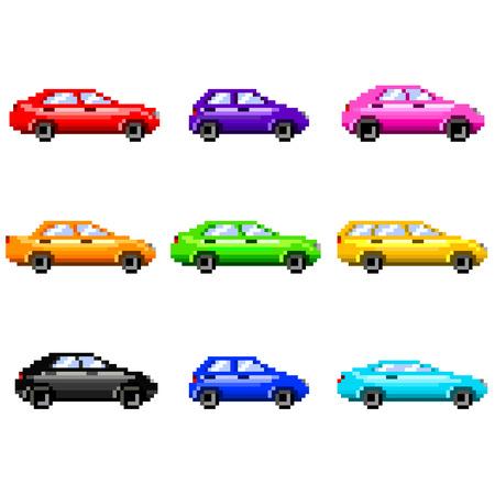 silhouette voiture: voitures de pixels pour jeux icônes haute set vecteur détaillée