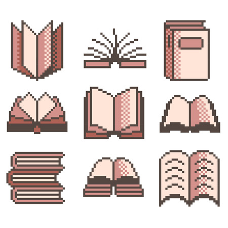high detailed: Pixel books for games icons high detailed vector set