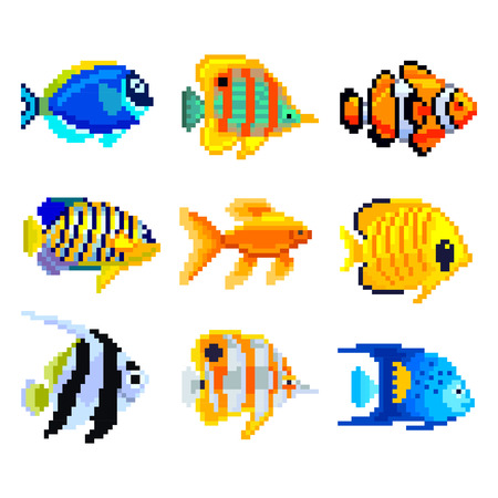 butterflyfish: Pixel exotic fish for games icons high detailed vector set
