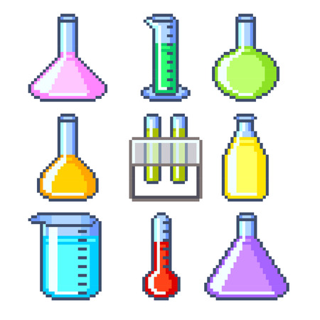 wizardry: Pixel flasks and test tubes icons high detailed vector set Illustration