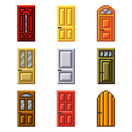 game icon: Pixel doors for games icons high detailed vector set